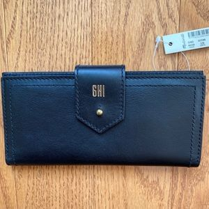 Madewell Black Leather Wallet with Personalization